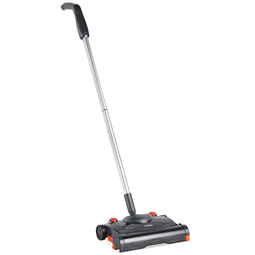 Rechargeable Electric Broom - VonHaus Electric Hard Floor Sweeper - Cordless/Wireless Rechargeable Floor Sweeper/Broom with Rapid-Rotation Brush Head – Lightweight, Upright Cleaner for Carpet and Hardwood Floors