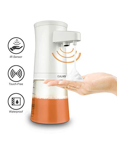 DALNOS Automatic Foaming Soap Dispenser, Upgraded 350ML Touchless Foam Soap Dispenser Electric w/Infrared Motion Sensor, Battery Operated & Hands Free for Home & Kitchen - White