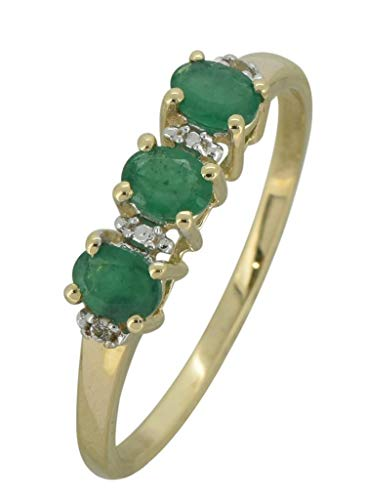 (YoTreasure 0.45 Ct. Green Emerald Solid 10K Yellow Gold Eternity Band Ring)