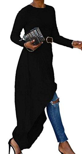 Bordo Lunga Manica Cromoncent Vestito Cotone Womens Irregolare Girocollo Nero Solido SYIqxv
