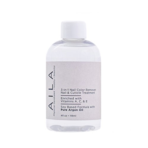 AILA 3-in-1 Nail Color Remover with Pure Argan Oil-Nail & Cuticle Treatment-100% Natural Plant-Based