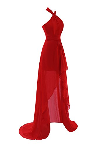 Queenmore Women's Summer High Low Halter Asymmetrical Prom Party Dress US10 Red