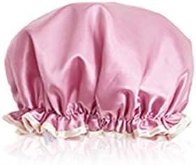 CQIANG シャワーキャップ、ダブルシャワーキャップ、女性防水フード、ヘアキャップ、お風呂シャワー女性シャワーキャップ、キッチンハット、アンチフードキャップ、シャンパン、ピンク、グレー (Color : Pink)