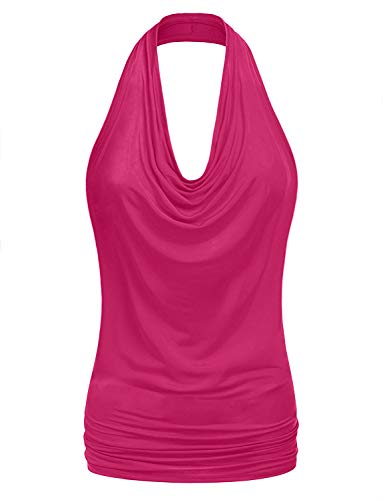 NE PEOPLE Women's Halter Neck Draped Front Sexy Backless Tank Top -