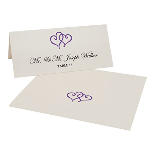 Hearts Linked (Documents and Designs Linked Hearts Easy Print Place Cards, Champagne, Purple, Set of 125 (21 Sheets))