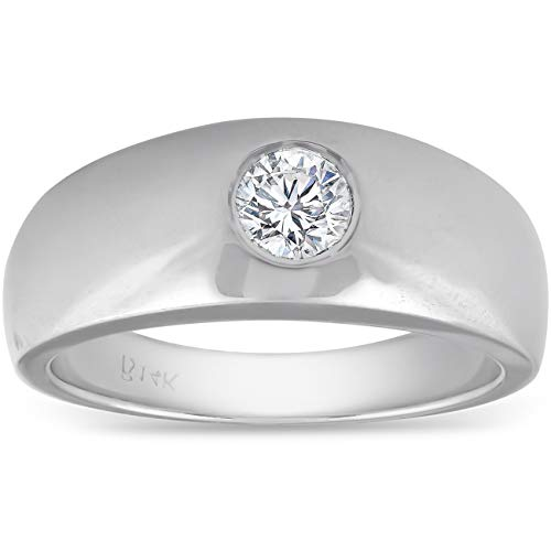 - Mens 14k White Gold 1/2ct Solitaire Bezel Round Diamond Wedding Anniversary Ring - Size 8.5
