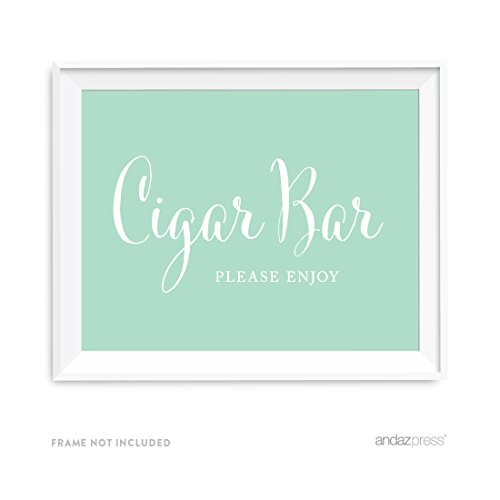 Andaz Press Wedding Party Signs, Mint Green, 8.5x11-inch, Cigar Bar Please Enjoy Reception Dessert Table Sign, 1-Pack