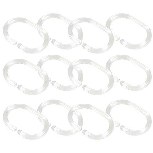 Bathroom Hooks - 12pcs Ring 360 Degree C Shape Distorted Transparent Shower Curtain Replacement Bathroom Hook - Color Robes Stainless Hooks Green Heavy Shelf Mermaid Curtains Moen Anchor T