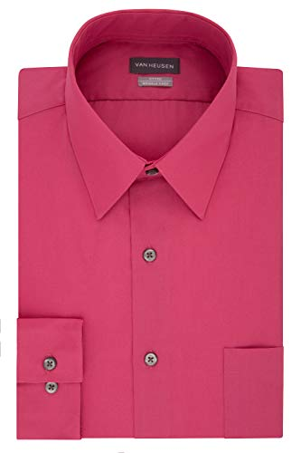 Van Heusen Men's Dress Shirt Fitted Poplin Solid, Desert Rose, 16.5