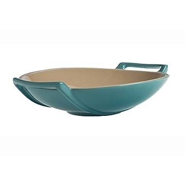 Le Creuset Stoneware Wok Dish, 28-Ounce, Caribbean