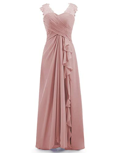 Miao Duo Women's Long Sweetheart Lace Applique Prom Celebrity Party Dress with Split Formal Wedding Party Evening Celebrity Gowns Dusty Rose - Beaded Dress Split Neck