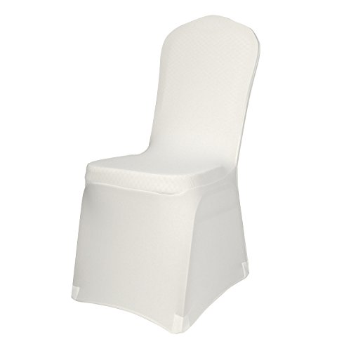 EMART Polyester Spandex Ivory Chair Covers, Elegant Dining Chair Cover Slipcovers for Banquet Wedding Party - 50pcs