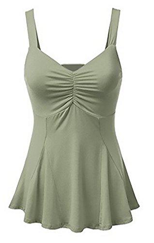 Scollo Canotte Bluse Sexy T Verde Tops Camicie Maniche Shirt Donna Sottile Estivo V Moda Vest Plissettate Senza 5tqcSWfZSw