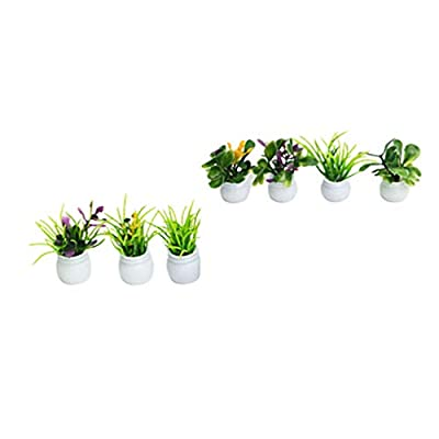 Healifty 7 Pcs Dollhouse Plant Bonsai Mini Potted Plant Flower Model Tiny Fake Greenery Ornament for Kids Children: Toys & Games