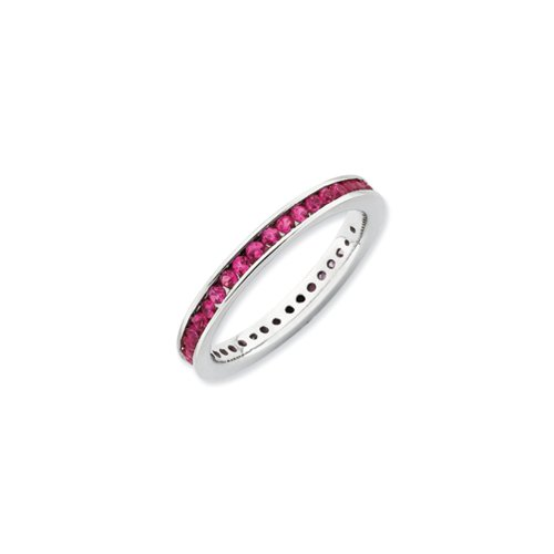 Sterling Silver Stackable Created Ruby Channel Eternity Band Size 8