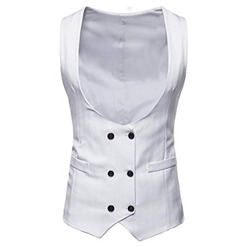 (TANGSen Mens Autumn Winter Solid Vest Fashion Formal Double-Breasted Suit Waistcoat Vest Casual Jacket Top Coat White)