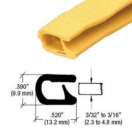 CRL QuickEdge Safety Yellow Single Lip Trim Grips Edges From .090 in to .190 in - 100 Feet