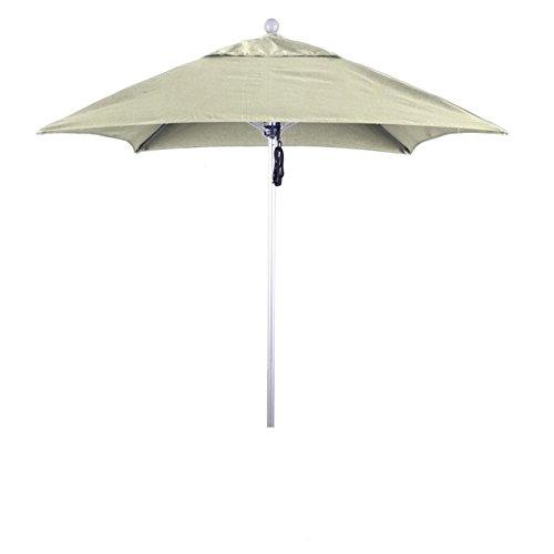 - California Umbrella Aluminum/Fiberglass Push Open, Silver Pole and Sunbrella Natural Umbrella, 6' Square
