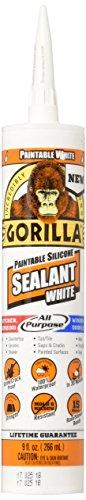 Gorilla 8070002 Paintable Sealant Silicone, 9 oz, White