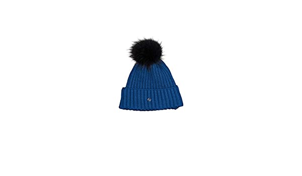 abfaeb66a2a EM-EL Bogner Sport Leonie Ski Hat with Finnraccon Fur Pom (Blue Black) at  Amazon Women s Clothing store