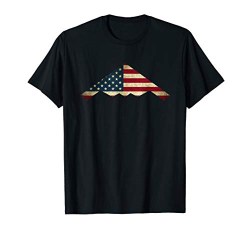 B-2 Stealth Spirit Bomber T-Shirt Us Flag Stars and Strips