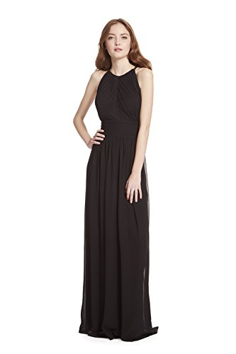 Samantha Paige Shirred Front Keyhole Back, Halter Neckline Pleated A-line Chiffon Formal Dress, Black-10,Black,10 (Black Chiffon A-line)
