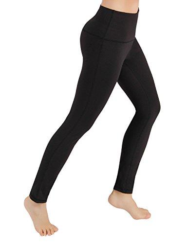 "ODODOS High Waist 26"" Yoga Pants Tummy Control Workout Running 4 Way Stretch Yoga Leggings,Black,Large"