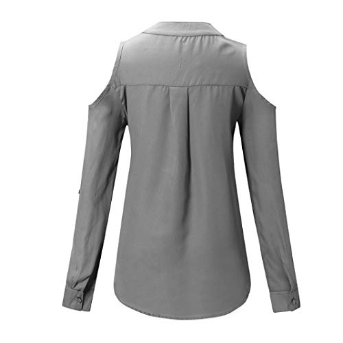 Routinfly V Chemisier Col Gris Solid Femme qrqtn6Pw