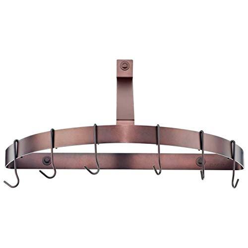 6 Hooks Bronze Pot Rack Wall Mounted Half Round Hanging Organizer for Pans Kitchen Cookware Holder, Metal