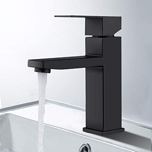 Bathroom Sink Faucet Single Handle One Hole Deck Mount Lavatory Vanity Faucet, Modern and Commercial in Matte Black