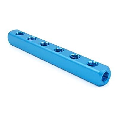 "Baomain Manifold Block Pneumatic 6 Way 9 Port 1/4"" PT Threaded Ports Quick Connect Air Hose Inline"