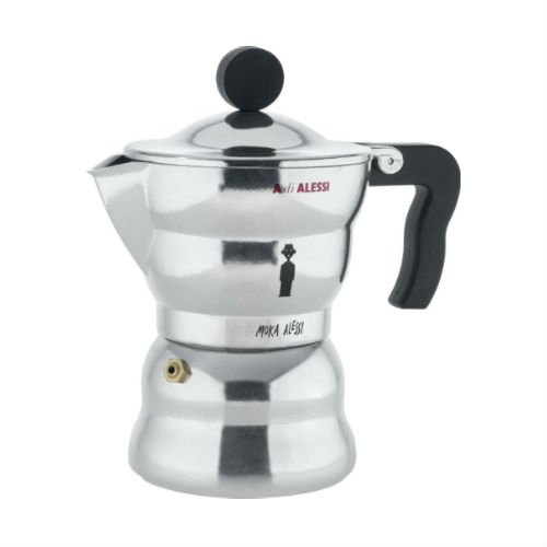 Alessi AAM33/6 ''Moka'' Stove Top Espresso 6 Cup Coffee Maker in Aluminium Casting Handle And Knob in Thermoplastic Resin, Black by Alessi