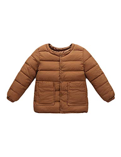 Slim fit Baby Sleeve for BESBOMIG Coats Outwear Child Round Lightweight Neck Casual Jacket Girls Brown Boys Warm Cotton Long pqvqz