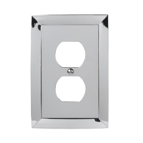 Amerelle Studio Single Duplex Cast Metal Wallplate in Polished Chrome ()