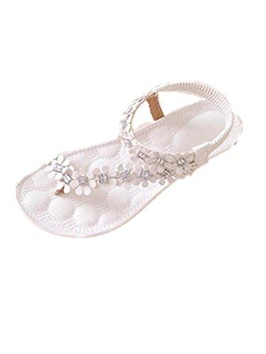 vovotrade 2016 Las mujeres del verano de Bohemia de la flor de los granos de las sandalias planas (EU tamaño 37, Blanco)