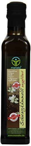 manako ® Schwarzkümmelöl human, ungefiltert, naturbelassen, kaltgepresst, 100% rein, 250 ml Glasflasche (1 x 0,25 l)