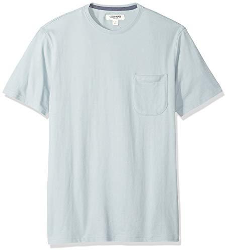 Goodthreads Men's Short-Sleeve Sueded Jersey Crewneck Pocket T-Shirt, Light Aqua, Medium