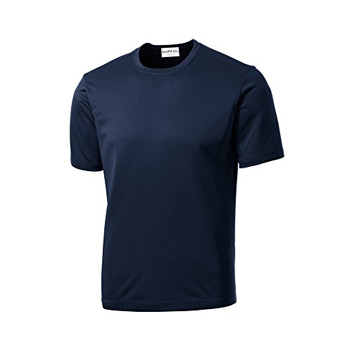 Clothe Co. Mens Short Sleeve Moisture Wicking Athletic T-Shirt, True Navy, L (Shirt Mens Athletic)
