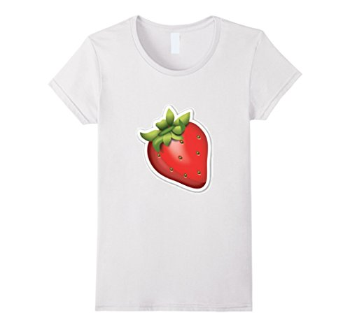 Womens Strawberry T-Shirt Fruit Berry Emoticon Apple Bana...