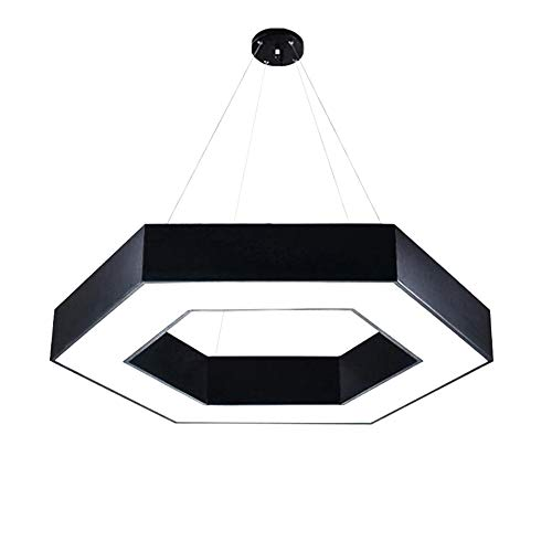 Hexagon Hollow Metal Pendant lamp, LED 55w Modern Acrylic Decoration Lighting Hanging Light for Office Hallway Living Room Pendant Light-Black -