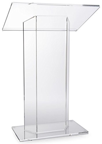 (Displays2go Clear Acrylic Podium, Large Top with Lip, 31.5