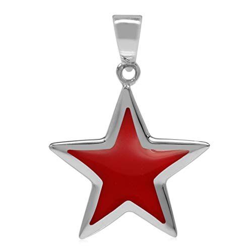Created Red Coral Inlay White Gold Plated 925 Sterling Silver Star Pendant