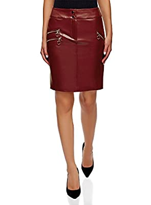 oodji Ultra Women's Faux Leather Skirt with Decorative Zippers