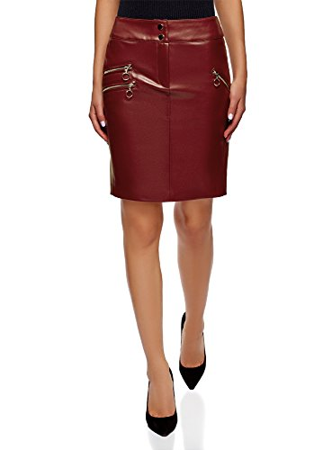 100% Leather Skirt - oodji Ultra Women's Faux Leather Skirt with Decorative Zippers, Red, 6