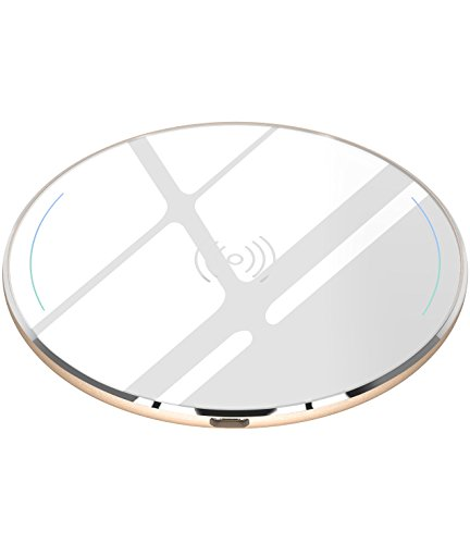 TOZO for iPhone X Wireless Charger, [Ultra Thin] Aviation Aluminum [Sleep-friendly] Wireless Fast Charging Pad for iPhone X / 10 / 8 / 8 Plus, Samsung Galaxy S8, S8+, Note 8 [White] - NO AC Adapter