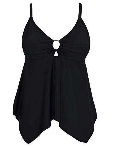 Mycoco Women's Tummy Control Front Tie Swim Top Cross Back Tankini Top Flowy Swimdress Black 14 ()