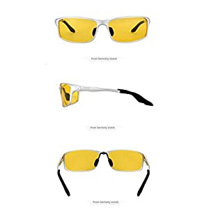 Polarized Night Driving Glasses Anti Glare Safety HD Night Vision Sunglasses (Silvery, Yellow)