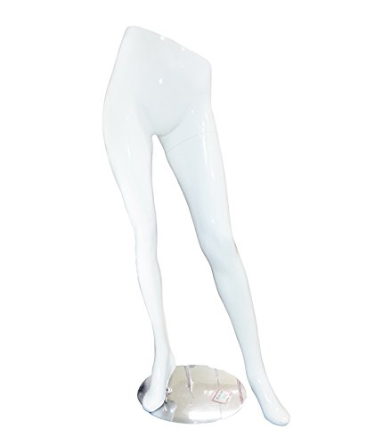 AMKO AHM-02 Half Female Lower Pant Display Mannequin with Metal Base, Slanted Legs and Waist, Fiber Glass, Glossy White Finish Amko Display