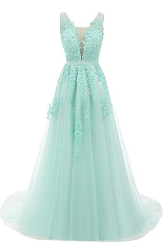 Elegent Plunging Gala Evening Dress Backless Prom Ball Gown Lace-up Mint Green,US10