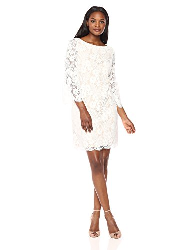- Jessica Howard Women's Lace Shift Dress with Bell Sleeves, Ivory/Beige, 6